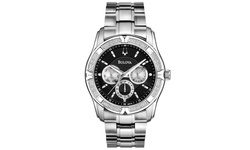 Bulova Men's Diamond Multi-Function Dial Watch - Silver Bracelet/Black Face