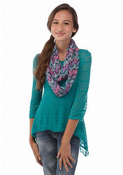 Beautees Girl's Shark Bite Top with Infinity Scarf - Natural - Size: 7-16