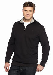 Izod Big & Tall Quarter-Zip Fleece Pullover - Black - Size: XXL