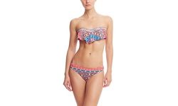Red Carter Moroccan Tile Cali Cut Hipster Bikini bottom - Multi