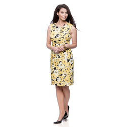 Jones New York Missy Lemon Floral Belted Sheath Dress - Lemon - Size: 12