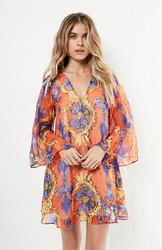 Lavender Brown Silk Long Sleeve V Neck Tunic Dress - Multi - Size: L
