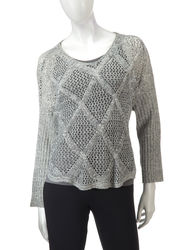 Hannah Women's Marled Diamond Knit Sweater - Ivory/Grey - Size: Medium