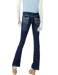 Amethyst Women's Flare Leg Embellished Jeans - Dark Blue - Size: 7