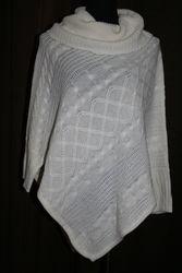 Hannah Women's Egret Cable Knit Poncho - White - XL