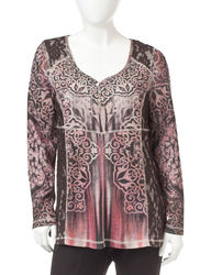 Energe Women's Petite Tonal Print Lace Accent Top - Brown Multi - Sz: P/L