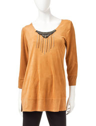 Valerie Stevens Women's Brown Suedette Beaded Top - Brown - Size: XL