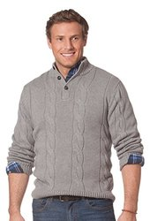 Chaps Men's Kent Cable Mockneck Sweater - Size: X-Large - Steel Heat