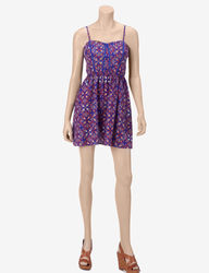 Trixxi Girls Piped Printed Dress - Royal Blue - Size: 5