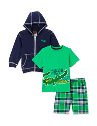 Little Rebel Boys 3Pc Navy Hoodie & Green Plaid Shorts Set - Navy - Sz: 3
