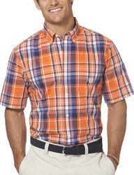 Chaps Men's Short Sleeve Plaid Shirt - Neon Orange - Size: Large