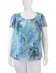 Women's Tonal Blue & Purple Paisley Print Flutter Top - Blue - Plus-Size