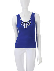 Women's In Living Color Bead Embellished Tank Top - Cobalt Blue - Size: M