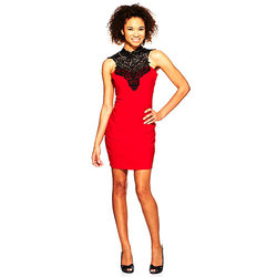 Emerald Sundae Girls Crocheted Neck Dress - Red/Black - Size: Medium
