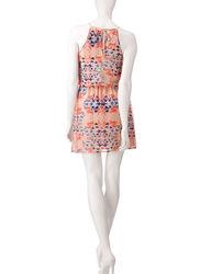 City Triangles Peach Women's Aztec Print Dress - Orange - Size: Medium