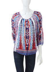Sara Michelle Women's Americana Mixed Print Layered-Look Top - Blue - L