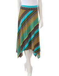 Women's Multicolor Tribal Print Skirt - Aqua/Orange - Size: XL