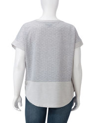 Earl Jean Textured Dot Striped Knit Top - Grey/Ivory - Size: Plus