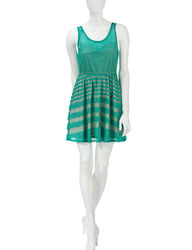 Fire Women's Striped Green Lace Skater Dress - Teal - Small