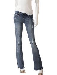 Wishful Park Girls Wash Rip & Tear Bootcut Jeans - Dark Blue - Size: 3