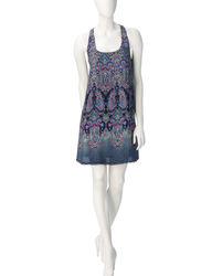 Sequin Hearts Women's Multicolor Printed Swing Dress - Blue - Size: Small