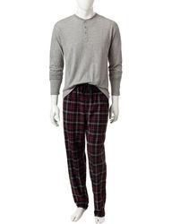 Izod Men's 2-Piece Black Fleece Top & Plaid Flannel Pant - Black - Size: XL