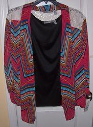 NY Collection Women's 2-Pcs Open Jacket w/ Tank - Fuchsia/Black - 1X