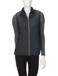 Hannah Women's Sherpa Lined Angled Puffer Vest - Navy - Size: XL