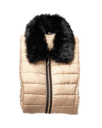 Hannah Women's Solid Color Faux Fur Accent Puffer Vest - Gold - Size: L
