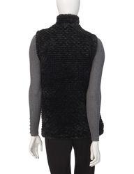 Hannah Women's Solid Color Reversible Faux Fur Puffer Vest - Black/XL
