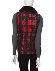 Hannah Women's Plaid Print Faux Fur Puffer Vest - Red/Black - Size: Small