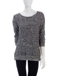 Hannah Women's Marled Cable Knit Sweater - Black/Ivory - Size: Large