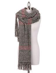 Steve Madden Women's English Houndstooth Blanket Wrap - Black/Ivory