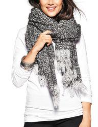 Steve Madden Women's Heathered Boucle Blanket Wrap - Silver