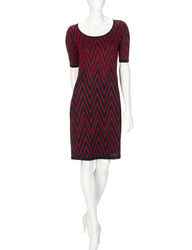 Allison Brittney Women's Chevron Sleeve Print Dress - Red - Size: S