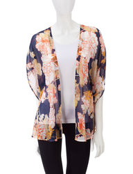 Valerie Stevens Women's Floral Print Kimono Top - Blue - Medium