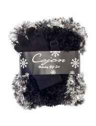 Cejon Spacedye Poodle Muffler 3-Pc Set - Black - Size: One Size