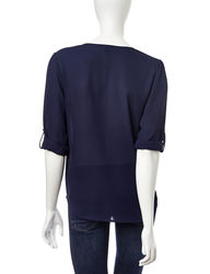 Signature Studio Women's Embroidered Top - Navy - Size: Large