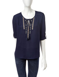 Signature Studio Women's Embroidered Top - Navy - Size: XL
