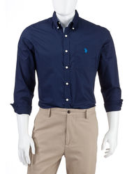 U.S. Polo Assn. Men's Solid Color Woven Shirt - Navy - Size: Medium
