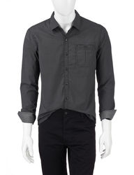 Signature Studio Men's Dressy Woven Shirt - Black - Size: Large
