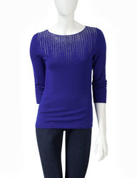 Ruby Rd. Women's Solid Color Sparkling Icicle Sweater - Red - Size: L