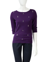 Ruby Rd. Women's Sparkling Rhinestone Sweater - Purple - Size: Large