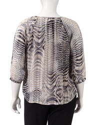 Sara Michelle Women's Tie Front Zebra Print Blouse - Tan/Grey - Size: 2X