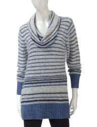 US Sweaters women's Stripe Pattern Yarn Sweater- Denim Blue - Size: Medium
