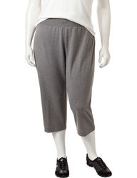 Cathy Daniels Women's Heather Slim Fit Pull-On Capris - Grey - Size: 1X