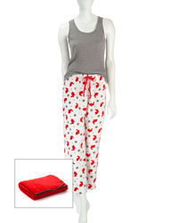 Wishful Park Women's 3Pc Print Pajama + Blanket Set - Red/Grey