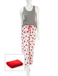 Wishful Park Women's 3Pc Print Pajama & Blanket Set - Red/Grey