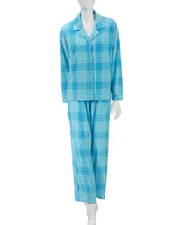 Hannah Women's 2-Pc Plush Pajama Set - Blue Plaid - Size: Large