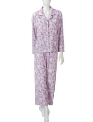 Hannah Women's 2Pc Winter Bird Print Pajama Set - Purple- Size: Large
